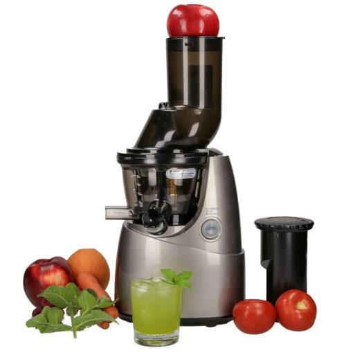 Wyciskarka do soków Kuvings B6000 szara z owocami i warzywami