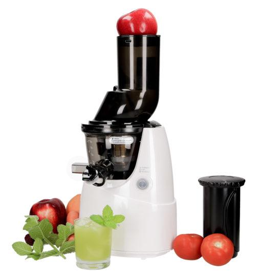 Wyciskarka do soków Kuvings B6000 biała z owocami i warzywami